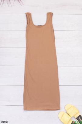 Женское коричневое трикотажное платье
