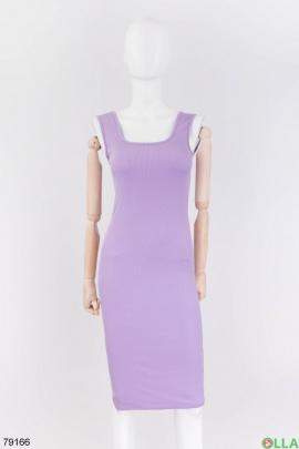 Женское лиловое трикотажное платье