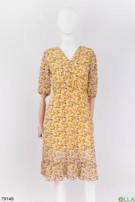 Женское желтое платье в цветочный принт