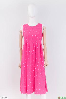 Женский розовый сарафан в принт