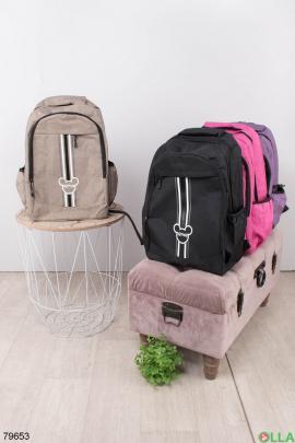Женский бежевый рюкзак с принтом