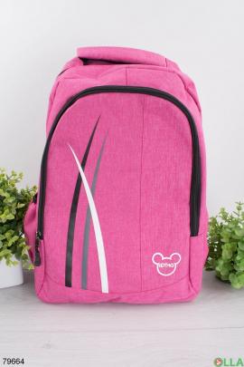 Женский розовый рюкзак с принтом
