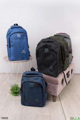 Женский синий рюкзак с принтом