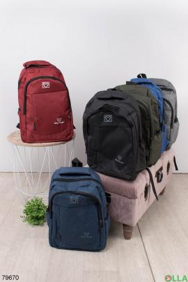 Женский красный рюкзак с принтом
