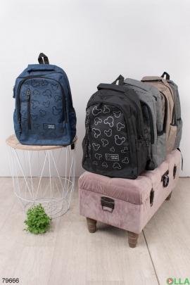 Женский темно-синий рюкзак с принтом
