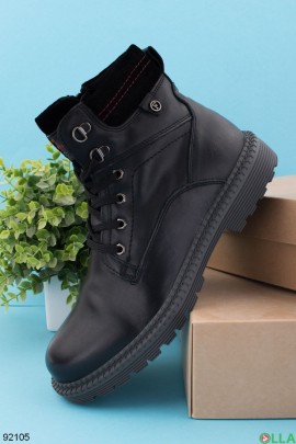 Мужские черные ботинки из натуральной кожи