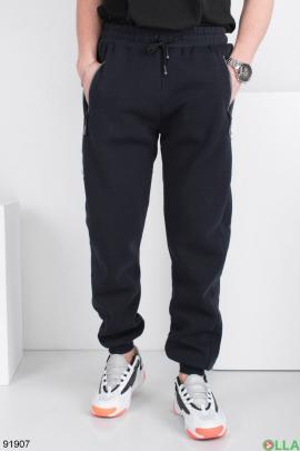 Мужские спортивные темно-синие брюки, на флисе