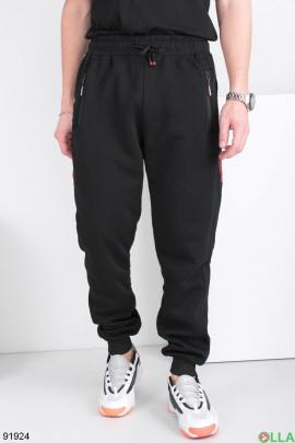 Мужские спортивные черные брюки, на флисе