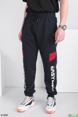 Мужские спортивные брюки с надписями, на флисе