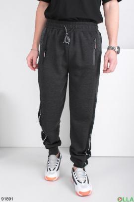 Мужские спортивные темно-серые брюки, на флисе