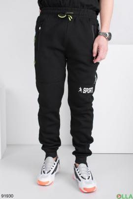 Мужские спортивные брюки с надписью, на флисе