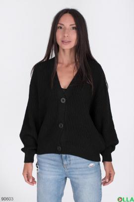 Женская черная кофта на пуговицах