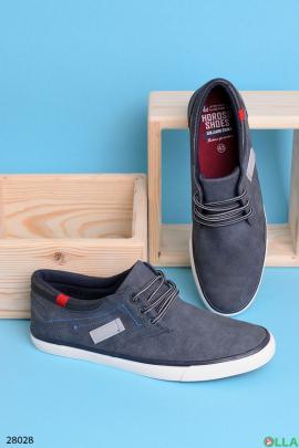 Кеды синего цвета на шнуровке