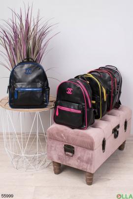 Женский Черно-голубой рюкзак