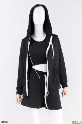 Женский черный спортивный костюм-тройка