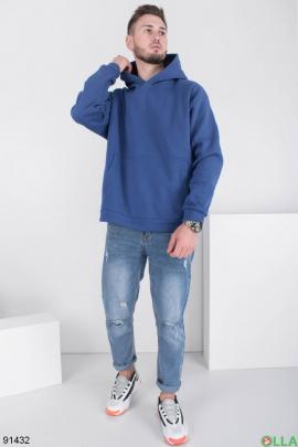 Мужское зимнее синее худи на флисе