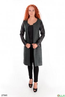 Пальто серого цвета с кожанными рукавами