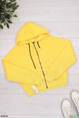 Женское желтое худи на флисе