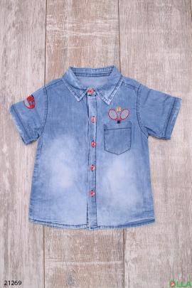 Джинсовая рубашка с карманом