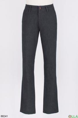 Мужские темно-серые брюки в полоску