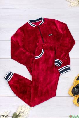 Женский бордовый спортивный костюм из велюра
