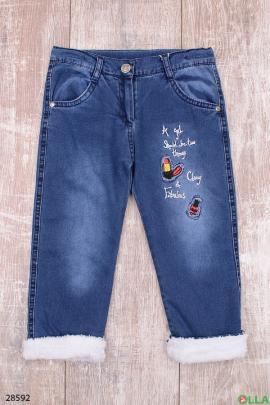 Утепленные джинсы с вышивкой