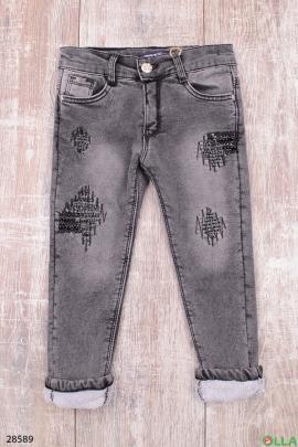 Утепленные джинсы серого цвета