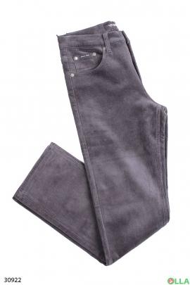 Мужские джинсы серого цвета на флисе