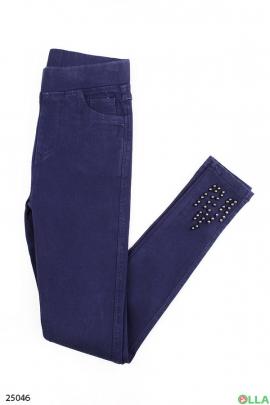 Синие брюки с бусинами