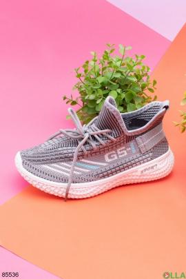 Женские кроссовки из текстиля, на шнуровке