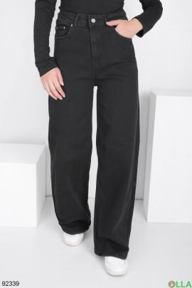 Женские черные джинсы-клёш