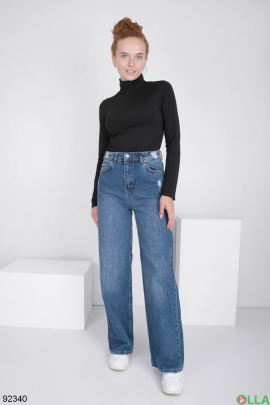 Женские синие джинсы-клёш