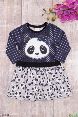 Платье с рисунком панды