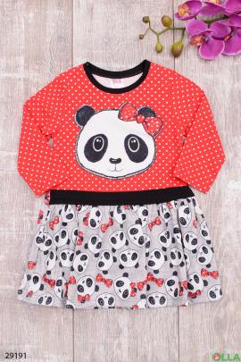 Яркое платье с рисунком панды