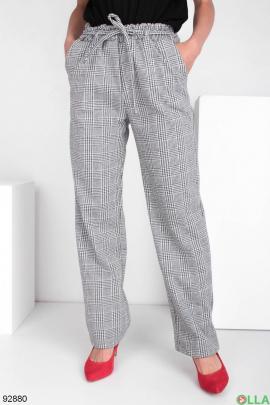 Женские брюки в клетку с поясом