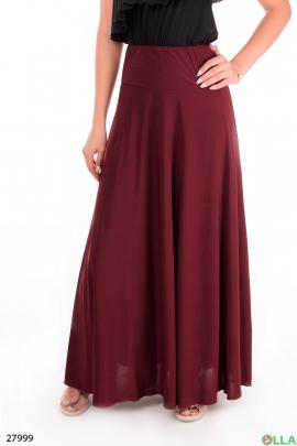 Бордовая юбка в пол