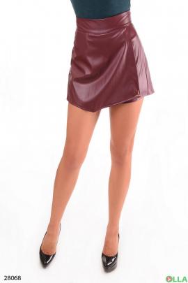 Шорты-юбка бордового цвета