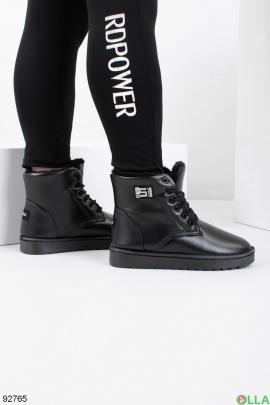 Женские черные угги из эко-кожи на шнуровке
