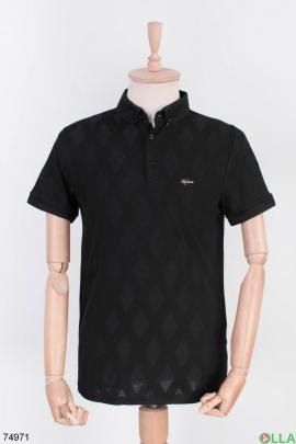 Мужская черная футболка поло