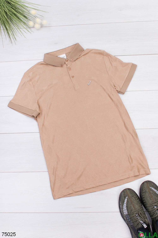 Мужская бежевая футболка поло