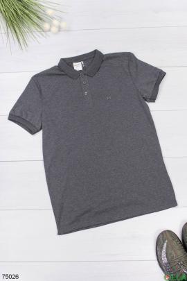 Мужская темно-серая футболка поло