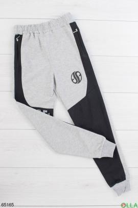 Мужские спортивные черно-серые брюки
