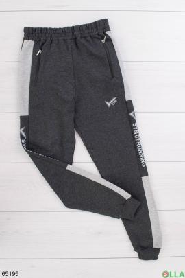 Мужские спортивные темно-серые брюки со вставками