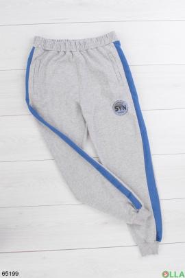 Мужские спортивные серые брюки с голубыми лампасами