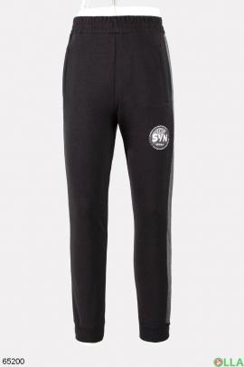 Мужские спортивные черные брюки с серыми лампасами