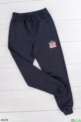 Мужские спортивные темно-синие брюки со вставками