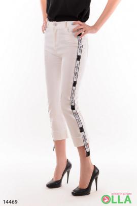 Женские укороченные брюки с надписями