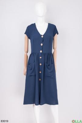 Женское темно-синие платье на пуговицах