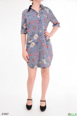 Платье - рубашка с рукавом три четверти