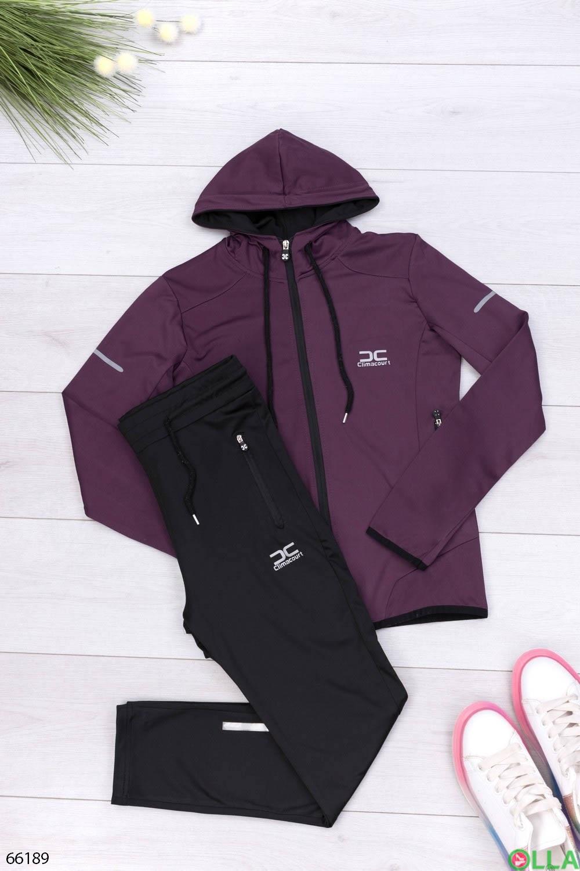 Женский черно-фиолетовый спортивный костюм